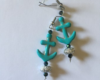 Turquoise Anchor Dangle Earrings