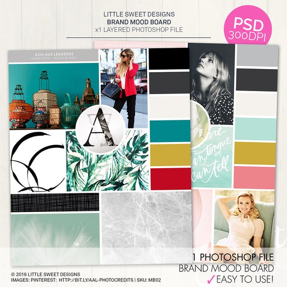 Photoshop mood board template inspiration board for your brand for Fashion mood board template