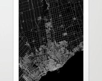 TORONTO map poster, toronto map print, toronto black and white, map of toronto, map art city