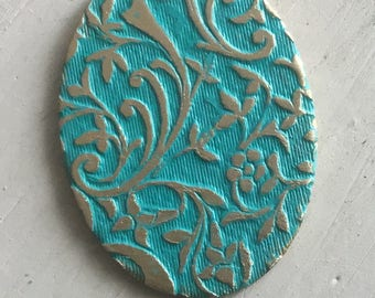 Antiqued teal patina brass embossed oval pendants 2 pc