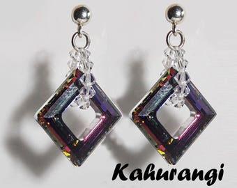 Swarovski Volcano earrings,Stylish Swarovski earrings,Swarovski stud earrings,Volcano Swarovski earrings,Swarovski earrings, purple earrings