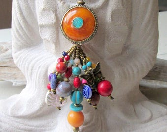 Leather necklace with pendant from Nepal * Pearl * ethno * Asian * jewelry * Leather * statement * hippie *