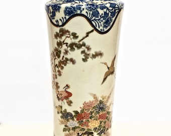"Shibata Japan Porcelain 12"" Porcelain Vase, Hand-painted Cranes Ming Tree Flowers, Rimmed in Blue and White 22k Gold"