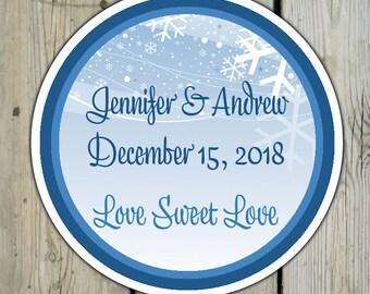 Round Custom Winter Snow Favor Labels / Stickers - Winter Wedding Favor Stickers / Winter Shower Labels / Birthday - Winter Favor Stickers