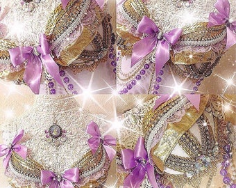 Lavender & Gold Victorian Lolita Glam top READY to SHIP! • rave bras • rave bra • lolita rave bra • kawaii • dance costume • festival wear