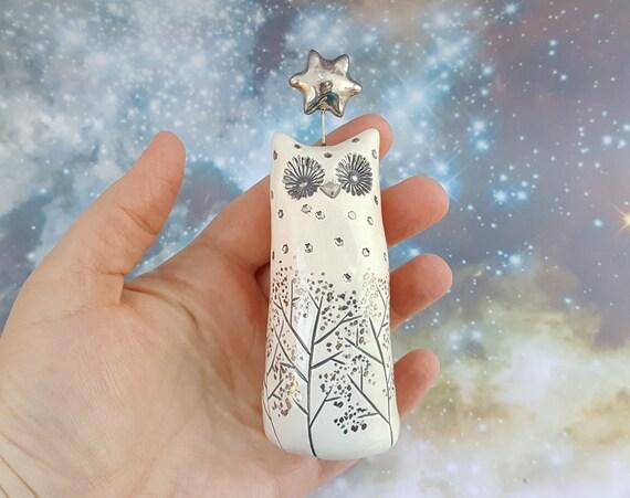 Tall White Owl Ceramic Figurine with Silver Stars