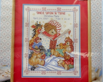 Cross Stitch Kit   ONCE UPON A TIME   Birth Record   Teddy Bears   41493   Bucilla   Cross Stitch   Cross Stitch Pattern