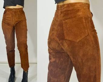 Caramel-brown suede high waist pants. Liz Roberts Robert Elliot