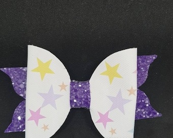 Purple glitter star bow