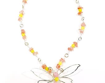 Fairytale Wire Dragonfly Necklace in Pink and Yellow Fantasy Adjustable Length #1183