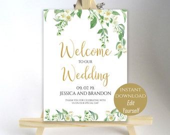 Welcome To Our Wedding Welcome Wedding Sign Printable Welcome Wedding Poster Board Printable Sign 8x10, 16x20, 18x24, 20x30 PDF Jasmine DIY