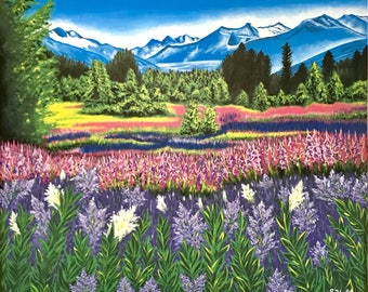 "Wall Art print, Landscape painting, acrylic painting, original painting, flower painting, 16""x20"", Wall Art Decor, Bedroom Wall Art"