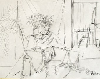 Drawing, Model in the Studio, Original Drawing, Pencil Drawing, Female Figure in the Studio, Model in a Room