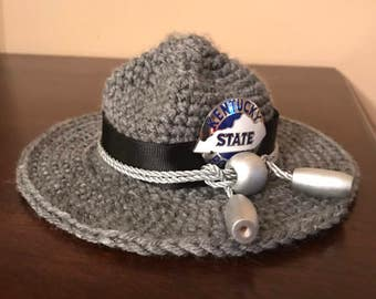 Crocheted baby State Trooper hat