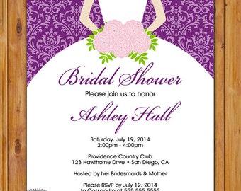 Wedding Dress Shower Invite Bride Silhouette Purple Bride to be Bridal Invite Damask Printable Printable 5x7 Digital JPG File (65-2)