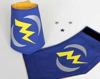 Superhero cuffs, Superhero bracelet, Handprinted, Lightning bolt gift, Blue and yellow, Gift under 25
