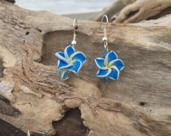 Blue Hibiscus Flower Earrings