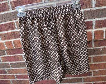 Men's Handmade Lightweight Polyester Underwear Boxers Briefs by Mumtaz Creations  - Size Small - Brown Print - Bernard I904