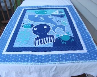 Sealife/Crab/Friendly Shark/Octopus Bedding Set, Quilt, Sheets, Bumper, skirt