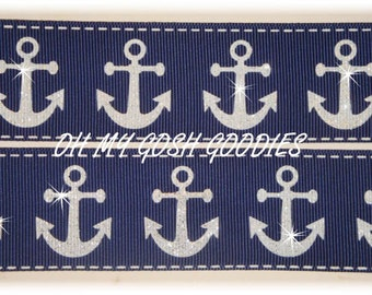"GLITTER  ANCHORS NAVY Grosgrain Ribbon 7/8"" & 1.5"" - 5 Yards - Oh My Gosh Goodies Ribbon"