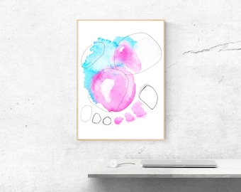 Abstract Art. Large Abstract Print. Modern Art in Pink and Blue. Fine Art Print. Colorful Abstract Wall Decor. Abstract Wall Art.