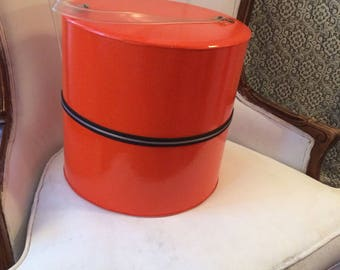 Stunning Orange Shiny Hat Box/Wig Case