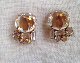Schreiner Inverted Rhinestone Earrings Unsigned