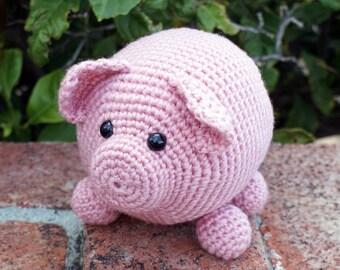 Crochet Pattern-- Roly Poly Piggy Amigurumi --Crochet Pattern