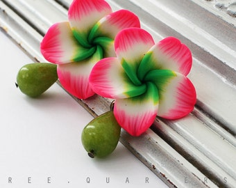 Earrings, Hawaii, hibiscus, summer, drops, beads, pink, olive green, white, holiday, gift, antique bronze, cute, flowers, large