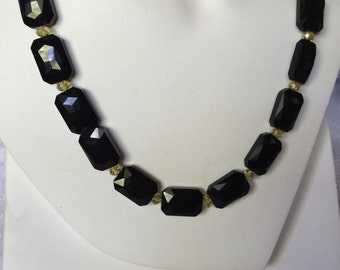 Classic Black Beads with Champagne Accent Beads