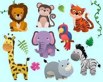 Cute Jungle Animals Clip Art - Set of 14 PNG, JPG, and Vector Files - Design Elements, Digital Clipart Download, Kid's Decorations