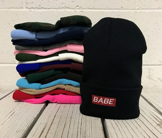 BABE Patch Embroidered Long Beanie Cuffed Cap Baby Winter Hat Beanies - Multiple Colors