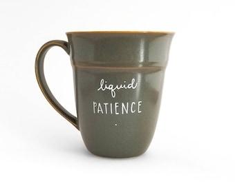Geduld mok | Parent mok | Grote mok | Upcycled mok | Grappige mok | Citeer mok | Cadeau idee | Keramische koffie thee mok | Vaderdag cadeau