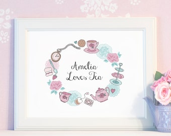 Personalised Tea Party Print - Time For Tea Collection - Cute Wall Art