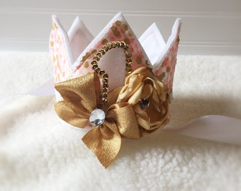 1st Birthday Crown. Girls Shabby Birthday Crown. Ready to Ship. Vintage Style.