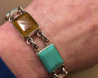 Sterling Silver Turquoise and Amber Panel Link Bracelet