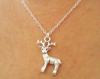 Deer Necklace - Silver Deer Necklace - Animal Necklace - Cute Necklace - Deer Jewelry - Charm Necklace - 2 Sizes Available