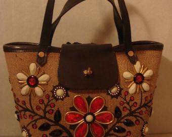 Vintage 1950s Jeweled Embellished Handbag