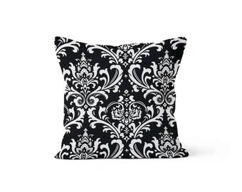 Black Damask Pillow Cover - Osborne Black - Lumbar 12 14 16 18 20 22 24 26 Euro - Hidden Zipper Closure