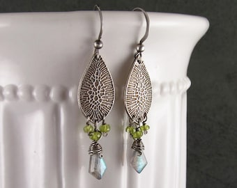 Fine silver earrings with labradorite and vesuvianite, handmade recycled silver jewelry-OOAK
