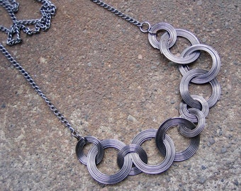 Eco-Friendly Statement Necklace - Direct Connections - Recycled Vintage Dark Silvertone Chain with Linked Gunmetal Wire Coils in Two Sizes