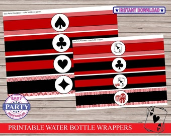 Casino Water Bottle Wrappers,  Instant Download, red and black, vegas party, poker party, dice, cards, gambling, casino night party