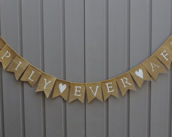 Happily Ever After Banner, Rustic Wedding Decor, Reception Decor, Burlap Bunting Garland, Wedding Decoration Photo Prop, Burlap Banner