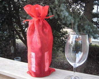 Valentine Red Hearts Wine Bag Bottle Bag Gift Bag Holiday Fabric Wine Bag Recyclable Sweetheart Bag Sparkling Red Hearts.