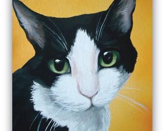 8x10 size canvas custom painted pet portrait sample 8x10 canvas Cat black and white