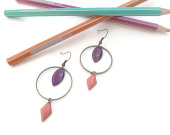 Brass, pink and purple earrings