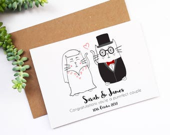 Mr and Mrs,Personalised Wedding Card, Cute Cat Wedding Card,Customised Greetings Card,Congratulations On Your Wedding Day,Newlyweds