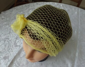 Sale Polyester heir net yellow scarf shawl. Good for saving your headdress.  Excellent condition.  no holes. no repairs.Gift