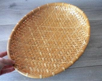 Oval Split Bamboo Woven Wall Basket Wall Decor - Shallow - winnowing basket