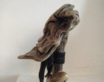 Statuette Tête de Hipster, bois flotté scuplté